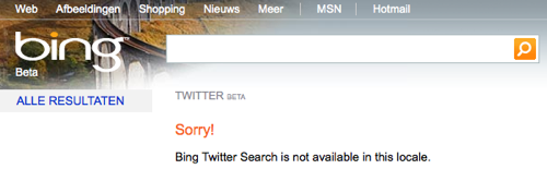 Sorry! Bing Twitter Seach is not avaible