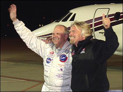 Steve Fossett en Richard Branson